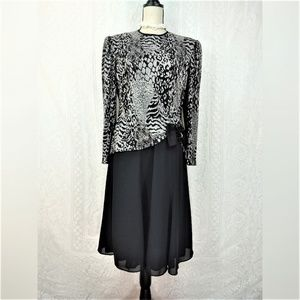 Vintage Cheetah  Print Cocktail Dress Size 14